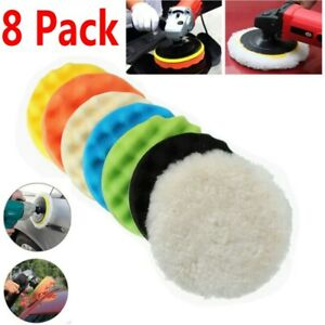 8PCS 7 INCH Polishing Waxing Pad Sponge Buff Buffing Kit Set For Car Polisher