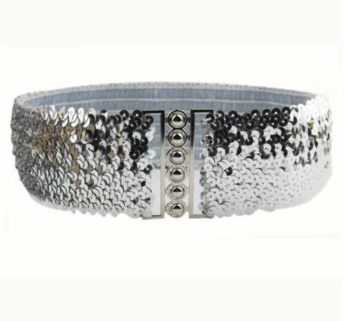 GOLD /& SILVER WOMENS WIDE STRETCH ELASTIC SEQUIN BUCKLE BELT IN BLACK,RED