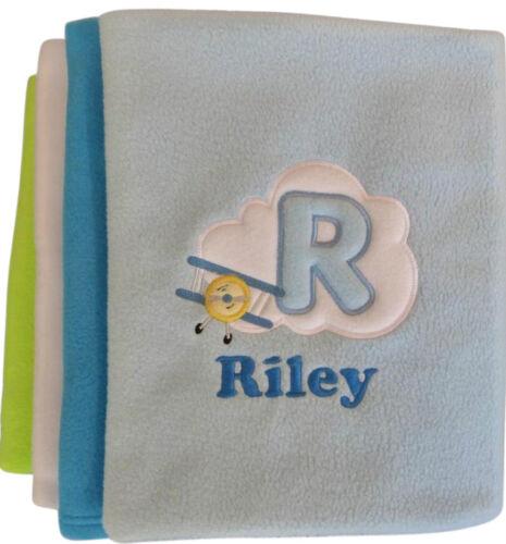Personalised Aeroplane Cloud Alphabet Baby Blanket Cot Pram Moses Name Date