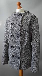 Ladies-Alexon-Black-amp-Cream-Wool-Blend-Double-Breasted-Jacket-Size-Uk-20