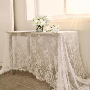 White-Vintage-Lace-Table-Cloth-Floral-Tablecloth-Wedding-Party-Decor-150x300cm