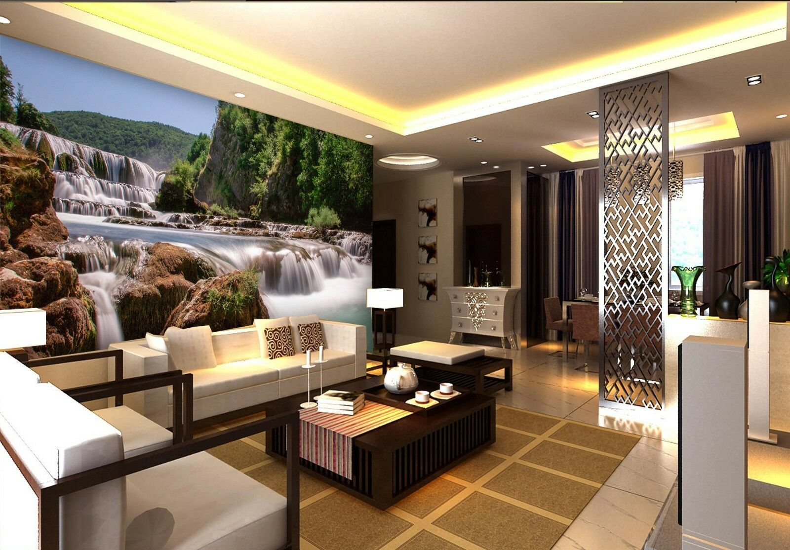 3D Stone waterfall mountain Wall Paper Print Decal Wall Deco Indoor wall Mural