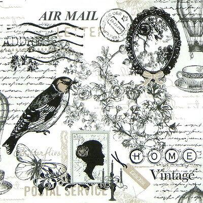 4x Vintage Poetie Paper Napkins for Decoupage Decopatch Craft
