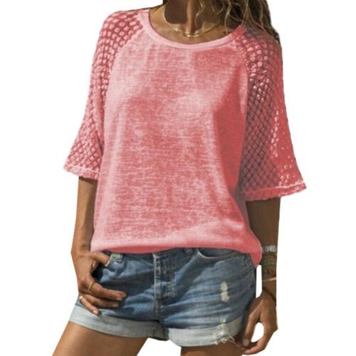 Damen Freizeit Spitze Kurzarm Tshirt T Shirt Bluse Sommer Rundhals Top Übergröße