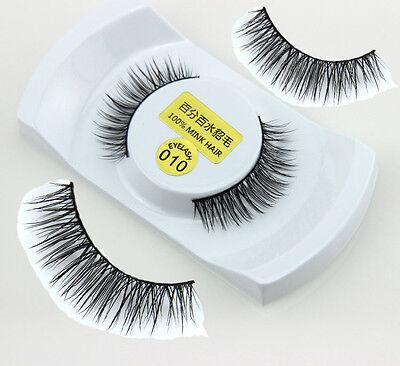 Black 100% Real Mink Long Natural Thick Soft Makeup Eye Lashes False Eyelashes