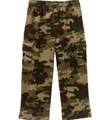 New Garanimals Sweat Pants Sz 2T Boys Green Camo Elastic Waist Cuffs Fleece