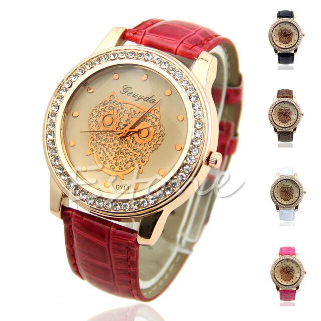 Women Delicate Owl Bird Pattern Bling Crystal Designed Quartz Analog Wrist Watch