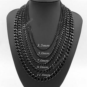 61423f0dd6eae Mens 3.5/5/7/9/11mm Black Stainless Steel Curb Link Chain Necklace ...