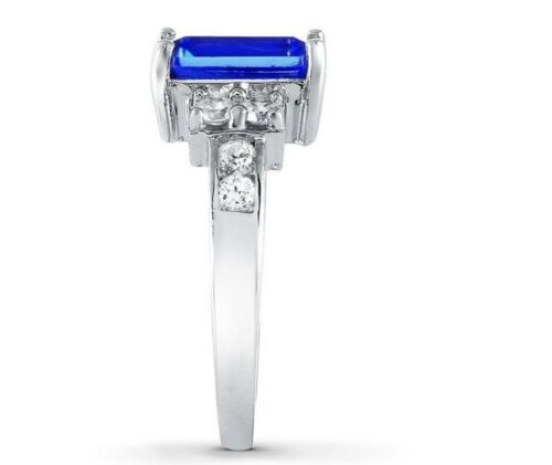 Details about  /Sterling Silver Radiant Simulated Blue Sapphire CZ Solitaire Ring