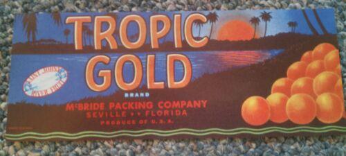 Tropic Gold CITRUS CRATE LABEL Seville FLORIDA Original 1930/'s