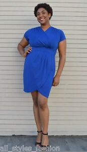 Plus-Size-Cocktail-Dress-Blue-Faux-Wrap-NWT-16-18