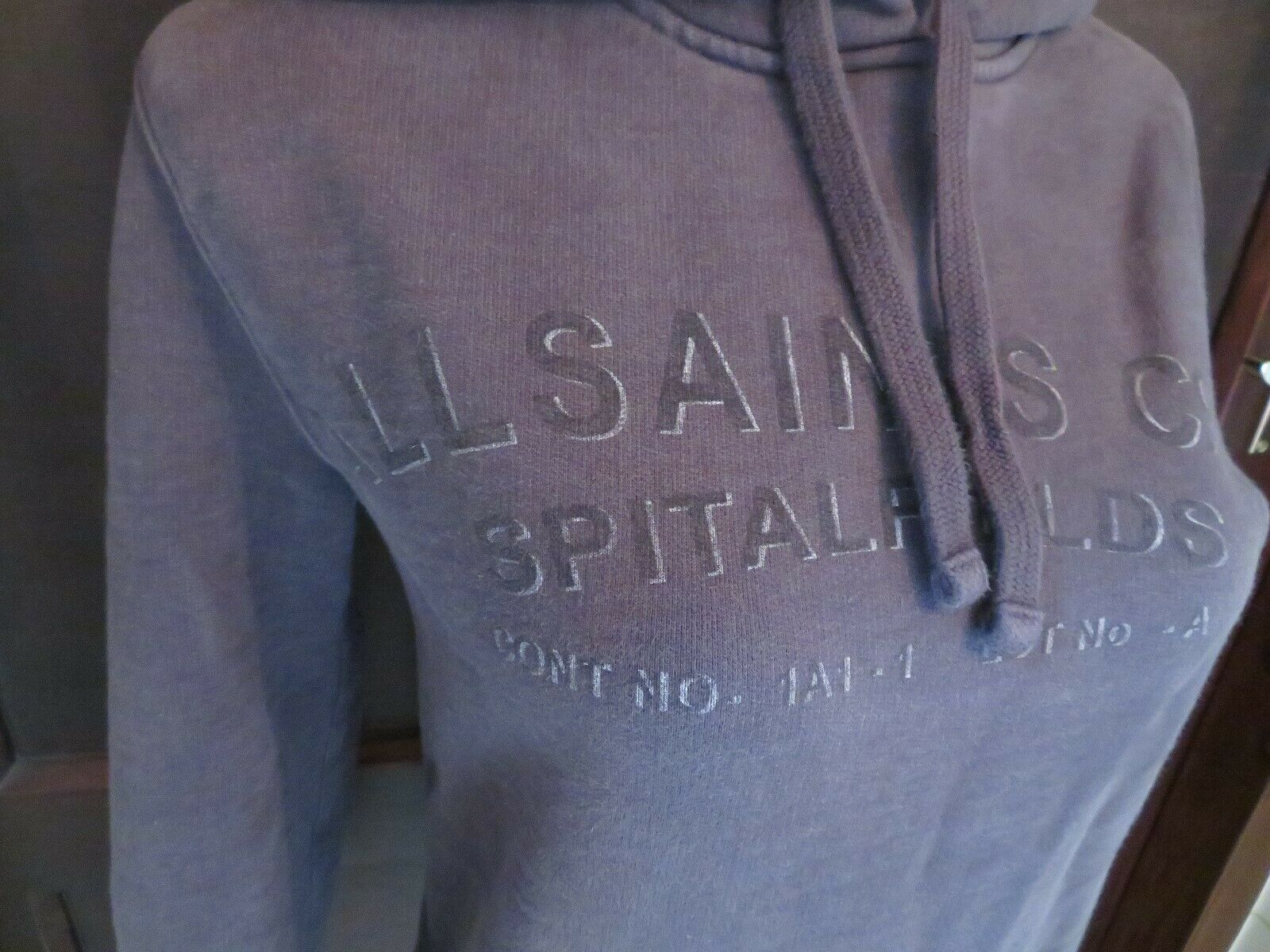 Stunning All Saints Mens Branded Hoodie Grey Size XS VGC