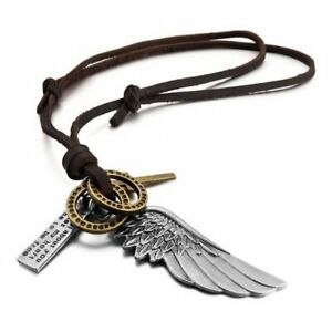 MENDINO-Men-039-s-Alloy-Leather-Pendant-Necklace-Angel-Wing-Feather-Cross-Adjustable