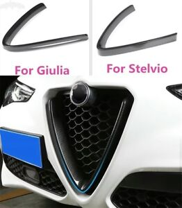 Cover in ABS Carbon Look Front Grill Grille Trim Alfa Romeo Giulia Stelvio 2018