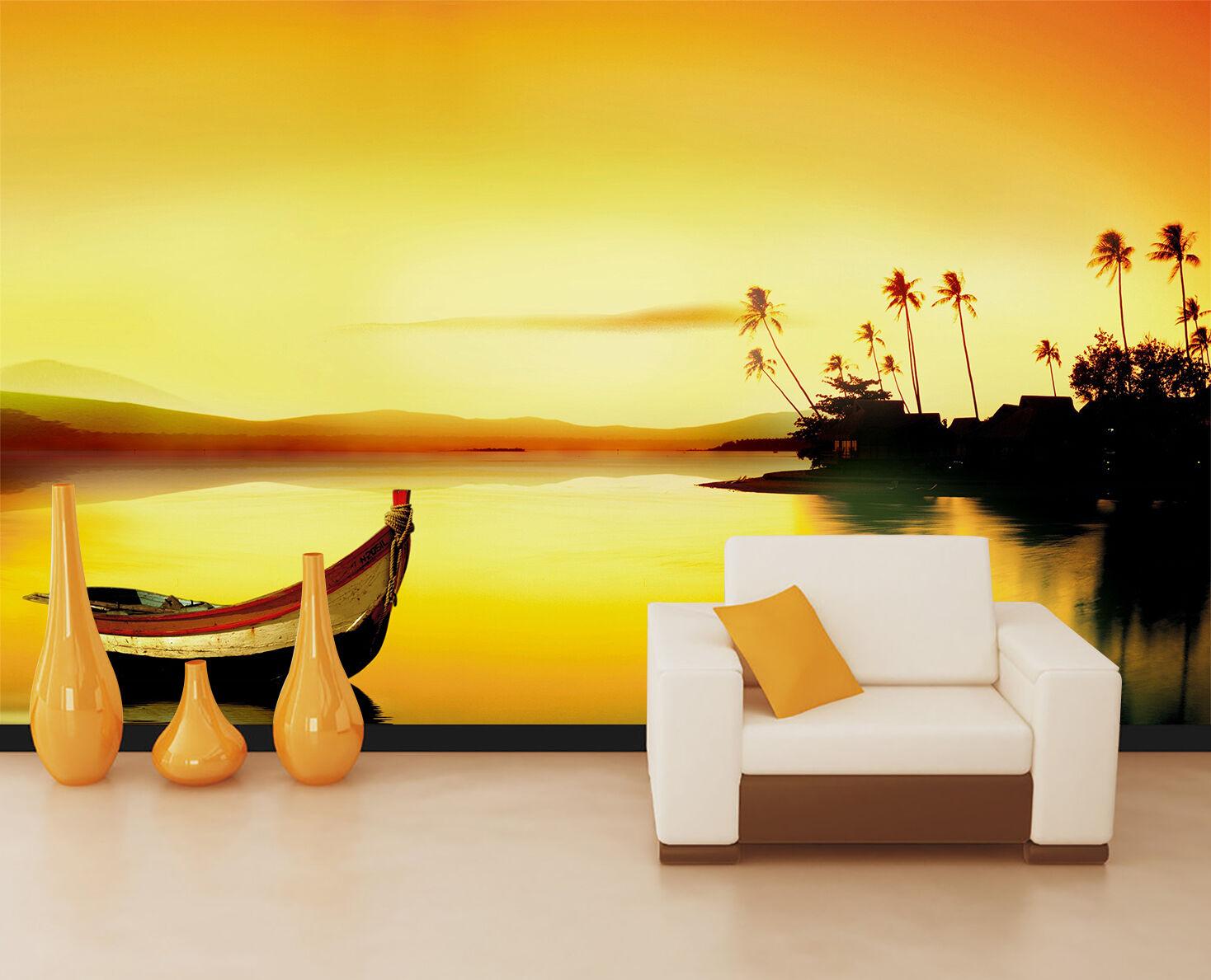 3D Tramonto,Barca Parete Murale Foto Carta da parati immagine sfondo muro stampa