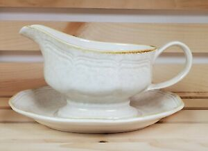 Mikasa-Country-Charm-Gravy-Boat-and-Underplate-Beige-Mottled-FG000-Made-in-Japan