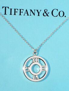 Tiffany-amp-Co-Atlas-Circulo-Redondo-Medallon-Plata-de-Ley-Colgante-Collar