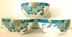 222-FIFTH-Eliza-Teal-Blue-Bowls-Set-of-3-White-Teal-amp-Gold-2-5-034-H-5-75-034-W-EUC