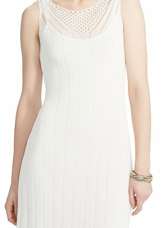 Lauren Ralph Lauren 1001 1001 1001 Ivory Pearl Stretch Pointelle-Knit Sheath Dress -  198 7c3269