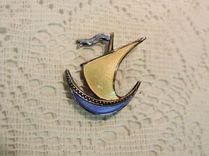 Vintage-Signed-Ivar-Holt-Norway-Blue-amp-Yellow-Enamel-Sterling-Sail-Boat-Brooch