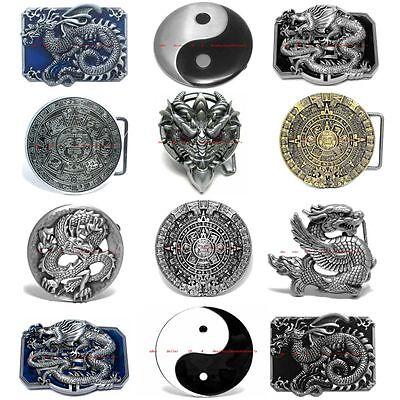 BBUM0319 IMPERIAL CHINESE ZODIAC DRAGON / YIN YANG / AZTEC CALENDAR BELT BUCKLE