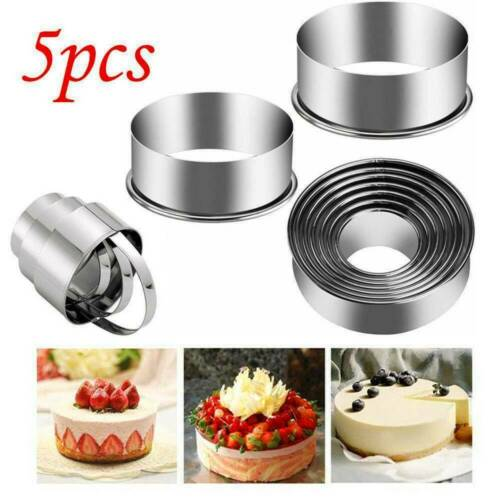 5Pcs Stainless Steel Round Cookie Cutter Circle Biscuit Pastry Mold Baking Tool