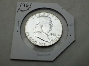 1961-Proof-Franklin-Half-dollar-90-silver-coin-Uncirculated-in-sleeve