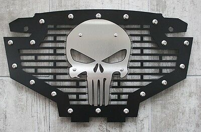 Custom Steel Grille Stainless SKULL Emblem Grill for Polaris RZR 800//900 RED
