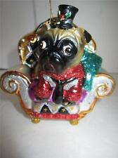Pug figurine statue Christmas ornament black top hat dog decoration