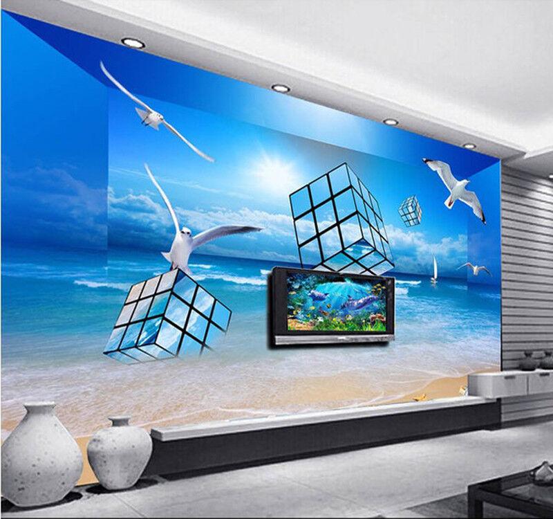 3D  Strand Würfel Vogel 83 Tapete Wandgemälde Tapete Tapeten Bild Familie DE