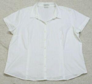 Van-Heusen-White-Solid-Dress-Shirt-Womans-Short-Sleeve-Top-Size-XXL-2XL-Womens