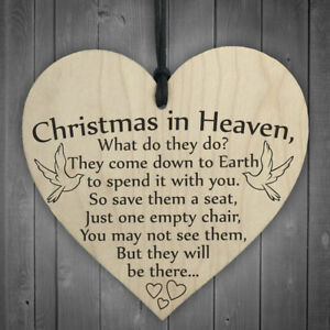 Wooden-039-Christmas-in-Heaven-039-Heart-Plaque-Sign-Festival-XMAS-Gift-Home-Decor-Hot