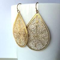 Large Gold Earrings Teardrop Medallion Gold Filled Wire Modern Lightweight