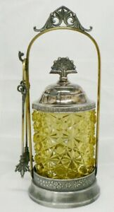 VINTAGE PRESSED YELLOW GLASS PICKLE JAR WITH TONGS AND HOLDER