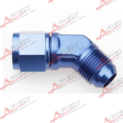 AN-4 AN4-4AN 45 Degree Female To Male Aluminum Fittings Adapter Blue