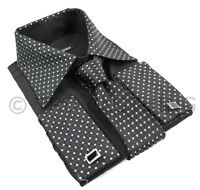 Mens Button Shirt Tie Cuff Link & Hankie Black Silver Shiny Trim Design
