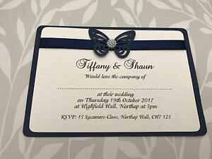 25 Wedding Invites  Navy Blue Butterfly with Pearl Centre amp Matching Ribbon - MOLD Flintshire, GB, United Kingdom - 25 Wedding Invites  Navy Blue Butterfly with Pearl Centre amp Matching Ribbon - MOLD Flintshire, GB, United Kingdom