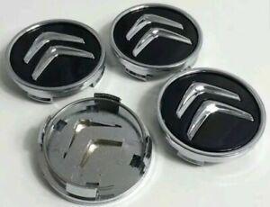 Citroen-4-x-60mm-negro-Black-tapacubos-embellecedores-tapacubos-Wheel-cap-New
