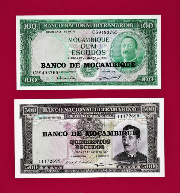 1000  Escudos,P-116,117 119 50 Mozambique Set 4 PCS 118 100 UNC 500