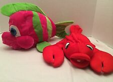 2 Stuffed. RED LOBSTER TOY SOFT CUDDLY And Pink/green Fish SEASIDE Or BEACH