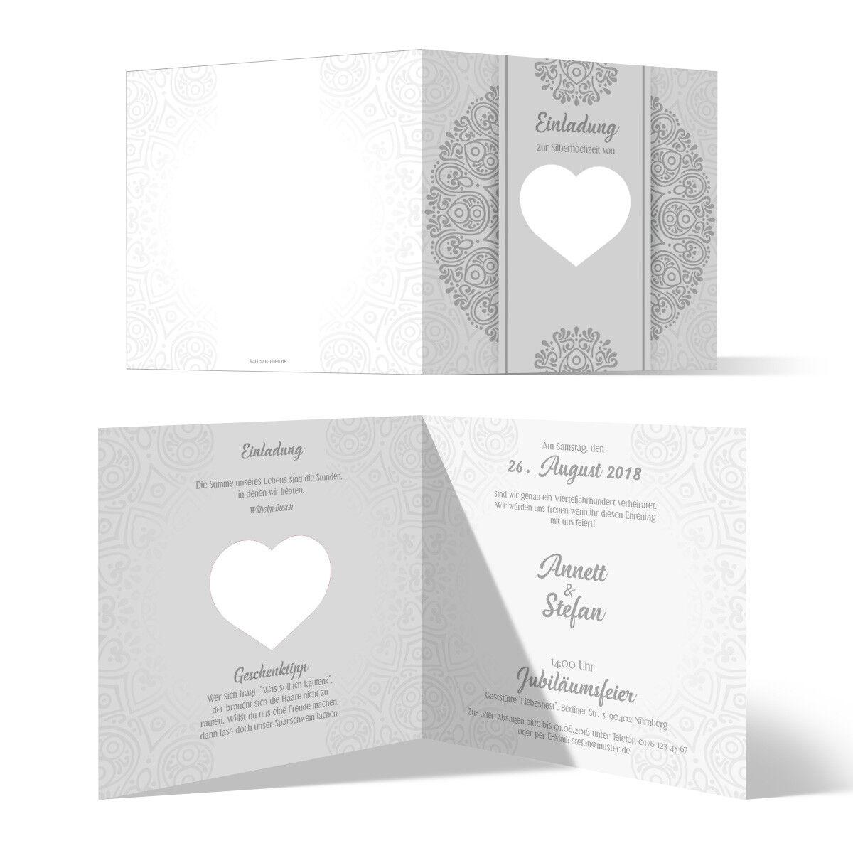 Lasergeschnittene Hochzeitseinladungen Silber Hochzeit Herzensangelegenheit   | Niedriger Preis  | Zuverlässige Qualität