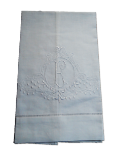 Large-White-Linen-Guest-Bathroom-Hand-Towel-monogrammed-E-hemstitched-whites