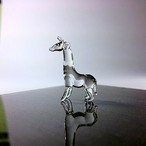 Rare Giraffe Tiny Micro Crystal Figurine Hand Blown Clear Glass Art Animals Gift