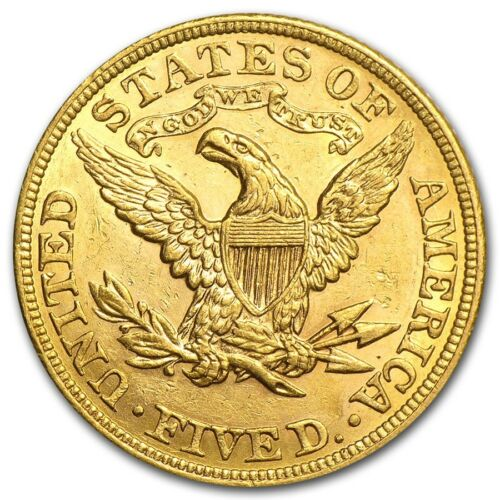 Random Year SKU #167444 $5 Liberty Gold Half Eagle AU
