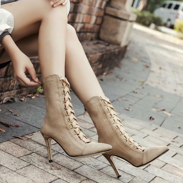 Womens Lace Up High Heel Casual Mid-calf Boots Stilettos Hollow Vogue shoes