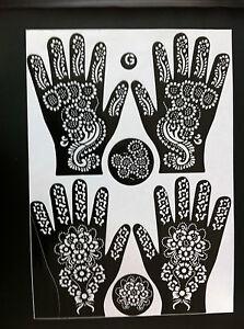 Henna Stencils Mehndi Templates 2 Designs On 1 Sheet Indian Style Body Art Ebay