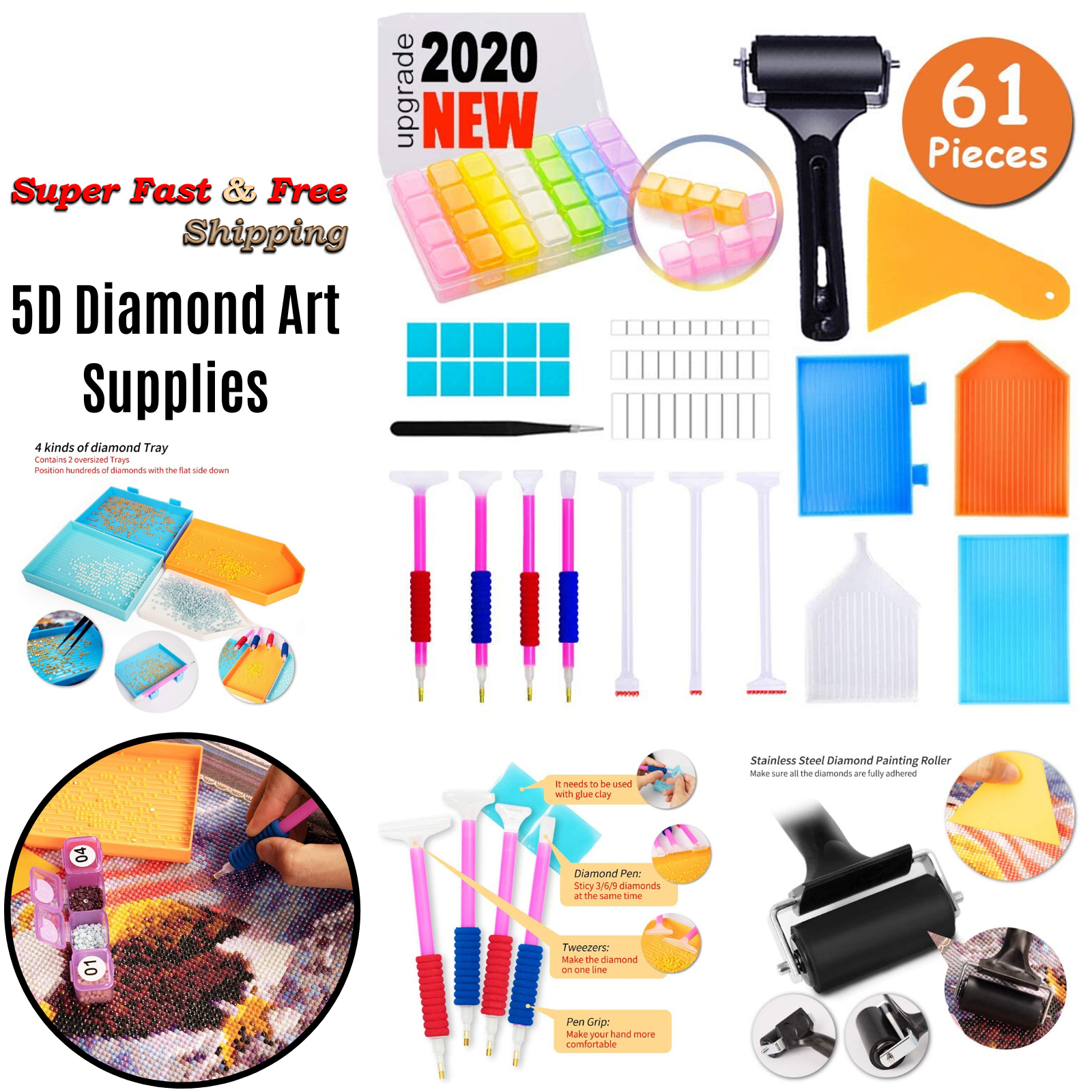 Tupalizy 100PCS 5D Diamond Painting Glue Clay with 6PCS 3 Sizes Diamond Painting Pens Cross Stitch Tool Set Diamond Painting Wax and Sticky Pens Kits Accessories for Diamond Dots Picture DIY Art Craft