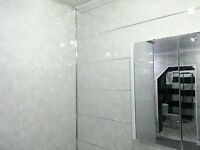 10 Light Grey Marble Gloss Bathroom Cladding Shower Wall Wet Room Panelling