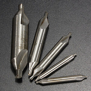 5pcs-HSS-Center-Drill-60-Degree-amp-Countersink-High-Speed-Steel-Set-Tool-New