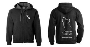 Dependable Performance Exclusive Dogeria Design Papillon Full Zipped Dog Breed Hoodie